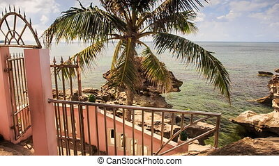 Staircase Iron Railing Leads to Sea Stones Palm on Beach -...