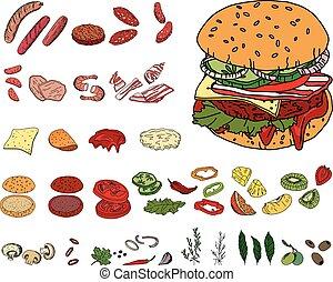 Fresh ingredients - vegetables, cheese, mushrooms, herbs and...