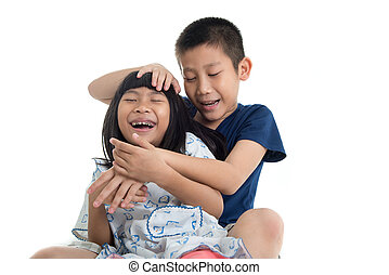 Happy Asian children on white background.