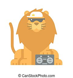 Flat design cool lion