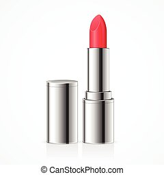 Red Lipstick Vector - Red Lipstick Open Silver Tube Vector...