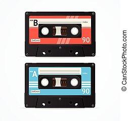 Colorful Cassette Tape Old Set Vector illustration