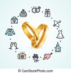 Wedding Concept Vector - Wedding Concept with Golden Rings...