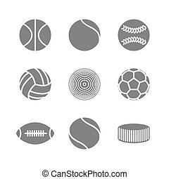 Icons balls, vector - Gray icons of various sports balls...