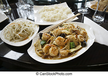 Chinese food with shrimps - Chinese food - stir fry shrimps...