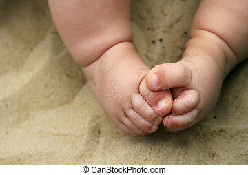 Baby Feet in Sand at Beach
