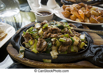 Chinese food with beef - Chinese food - stir fry beef with...