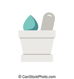 Flat Icon mortar with herbs icon