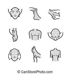 Set of Alternative Medicine, massage Icons