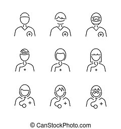 Line Style Medical Surgeon Avatar icon set