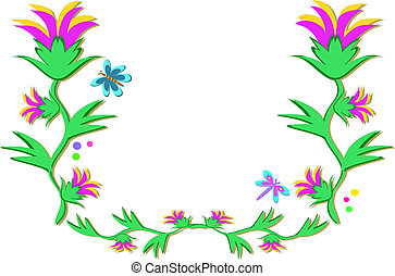 Frame of Flowers and Dragonflies