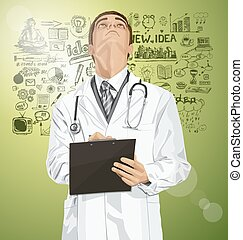 Vector Doctor Man With Clipboard - Vector doctor man writing...
