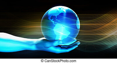Man Holding Globe with Technology Abstract Background