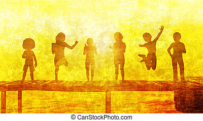 Children Having Fun in the Sun by the Beach