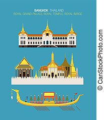 Thailand Royal Place Objects Set - Royal Grand Palace, Royal...