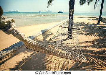 cradle on sea beach use for summer vacation and relaxation...