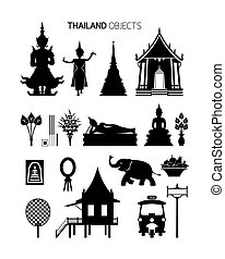 Thailand Culture Objects, Silhouette Set - Traditional,...