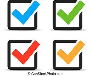 Checkbox icons set isolated on white background