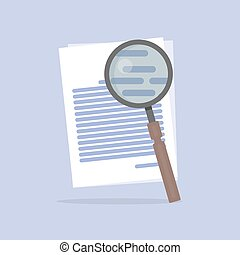 Flat Vector illustration of document Search icon