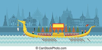 Thailand Royal Barge - Skyline City Background, Travel...