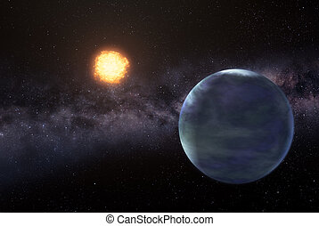 Earthlike planet in deep space - Illustration of distant...