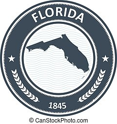 Florida stamp with state map
