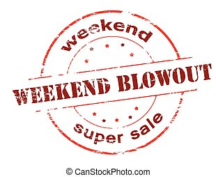 Weekend super sale - Rubber stamp with text weekend super...