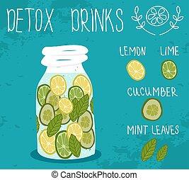 Detox drink. Vector illustration.