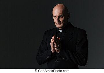 sacerdote, posición, y, praying, ,
