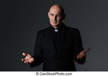 católico, sacerdote, posición, y, hacer, bienvenida,...