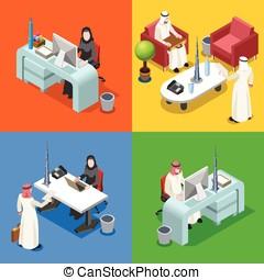 Arab Businessman Isometric People - Middle Eastern Arab...