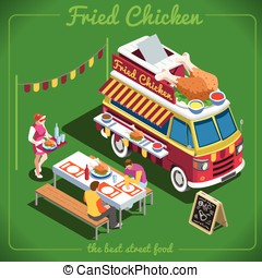Food Truck 10 Isometric Vehicles - Fried Chicken Wings Food...