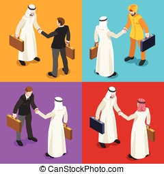 Handshake 04 Isometric People - International Business Hand...