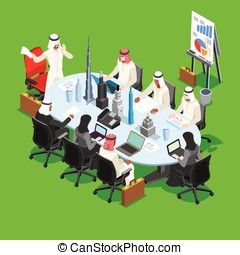 Sheik Businessman Isometric People - Middle Eastern Arab...