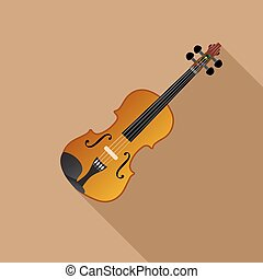 Violin on a Brown background, vector illustration