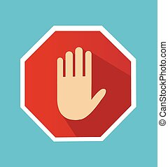 No entry hand sign with long shadow in flat style