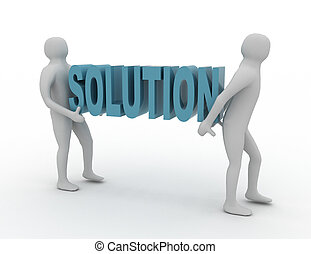 White 3d People Carry SOLUTION Word Business Success Concept...