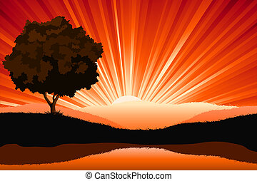 Amazing natural sunrise landscape with tree silhouette, vector illustration
