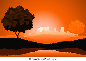 Amazing natural sunrise landscape with tree silhouette and cityscape