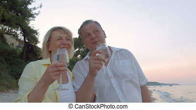Mature Couple with Glasses on the Sea Shore - Mature couple...