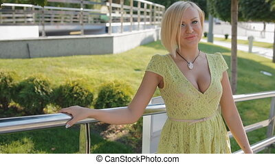Young blond woman pose photographer outdoor - Young blond...