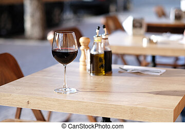 Glass of red wine in restaurant
