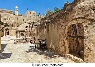 Ethiopian monastic cells in jerusalem, israel - Wooden cross...