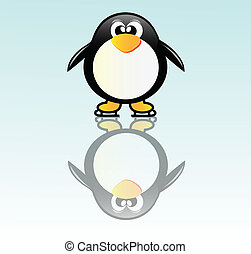 Penguin on skate - Very nice illustration of happy pinguin...