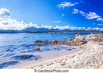 Amazing wild Capriccioli beach on Sardinia island, Costa...