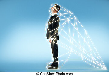 A man stands in a digital interface