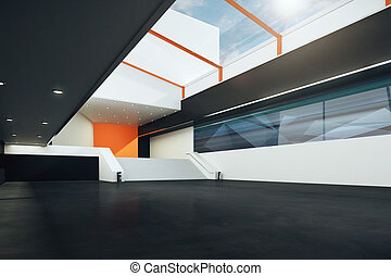 Futuristic room - Sideview of futuristic room with stairs,...