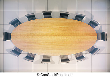 Conference table wooden top - Topview of empty wooden...