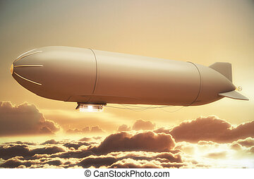 Golden airship - Airship in golden sunlit sky with clouds...
