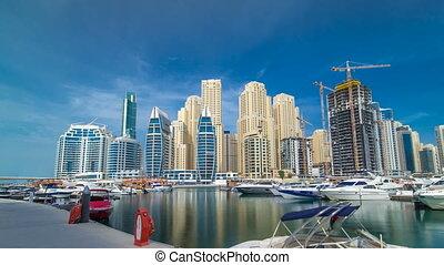 Timelapse hyperlapse of business city in Dubai marina at...